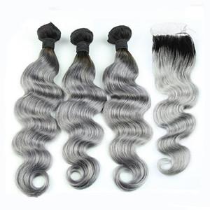 8A Grade peruanischen graues Haar Weben mit Verschluss Körperwelle zwei Ton Ombre 1b Silber grau Ombre Menschliches Haar Bundles und Spitze Verschlüsse