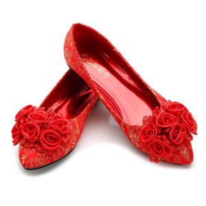 플러스 사이즈 중국어 결혼식 빨간 구두 하이힐 신부의 신발 Cheongsam 신발 A02