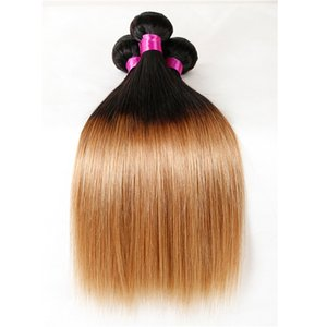 9a أومبير البرازيلي العذراء منتجات الشعر اثنين / ثلاثة لهجة شقراء عنابي البرازيلي مستقيم الشعر حزم أومبير الشعر البشري حزمة