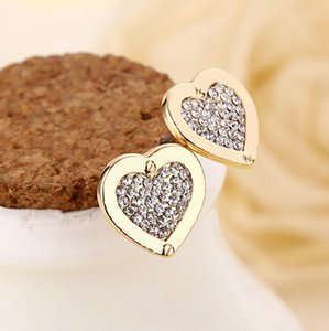 2017 New Arrival Fashion Women Heart Earrings Rhinestone Crystal Alloy Ear Stud High Quality Jewelry