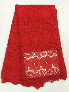 5 Yards pc Hot sale red flower design mesh lace african guipure lace fabric french water soluble lace for clothes RW2-4