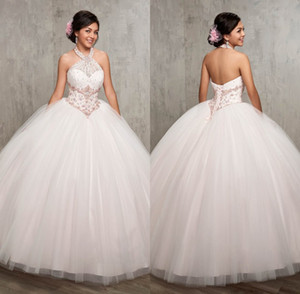 Ball Gown Halter Beaded Cheap White Quinceanera Dresses 2019 vestidos de 15 anos debutante gowns Long Tulle Prom Party Gowns ADQ001
