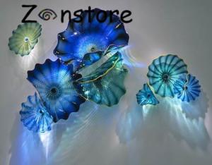 Ocean Blue Art Decor Soffiato Wall Plates Glass Beh design Home Decor Murano Piastre parete di vetro