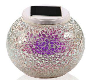 New Glass Mosaic Solar Powered Bola Jardim Lights Cor Mudar Quintal Varanda Lâmpadas impermeável ao ar livre Indoor