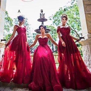 Borgogna Tulle Applique di pizzo Custom Made Sweetheart Una linea formale Prom Dresses Dark Red Long Abiti da sera economici Bridesmaid Dress 2017