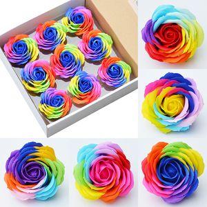 Gökkuşağı renk dia 6 cm Gül Sabunlar Çiçek Paketlenmiş Düğün Malzemeleri Hediyeler Olay Parti Mal Favor Tuvalet sabunu Kokulu banyo aksesuarları