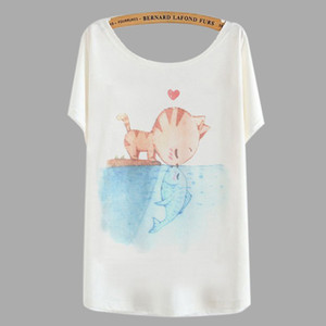 Wholesale- Cartoon Print Tops 2016 Summer Women Fashion Plus Size Cute TOTORO Panda Cat Printed T Shirt Loose T-Shirts tshirt 492127