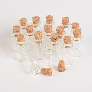 Wholesale- Wholesale 1ml Mini Glass Bottles Vials With Cork Empty Tiny Transparent Glass Bottle Jars 13*24*6mm 100pcs/lot Free Shipping