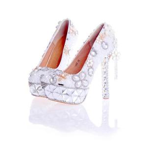 2017 À La Main De Mariage Chaussures Blanc Perle avec Cristal Gorgeous Chaussures De Mariée Femmes Parti Pompes Plate-Forme Haute Talon Valentine Chaussures