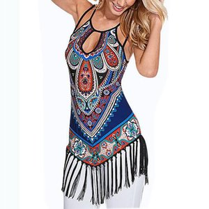 Wholesale-Summer Ethnic Totem Print T-shirt 2016 Women Fashion Spagetti Strap Tassel Tops Tshirt Women Clothing Camisetas Mujer