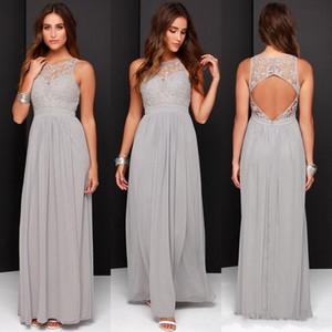 Land Günstige Grau Lange Brautjungfernkleider Chiffon A-Line Backless Abendkleider Hochzeit Spitze Modest Trauzeugin Kleider