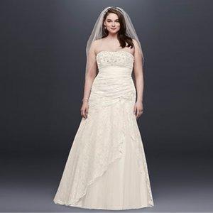 Elegante trägerlose Brautkleider in Übergröße Heißer Verkauf Lace Side Split Brautkleid A-Line Kristall Brodal Kleider 9YP3344