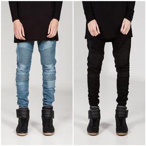 Fashion D Men Skinny Biker Jeans Joggers Pleated Hip Hop Swag Moto Black Grey Blue Denim slim fit strech Pants For Man