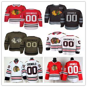 2018 AD Chicago Blackhawks 00 Clark Griswold Formalar Ucuz Beyaz Kırmızı Siyah 100. Yıldönümü Clark Griswold Hokeyi Formalar Buz Dikişli