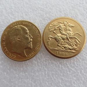 SELTENE 1908 KÖNIG EDUARD VII MATT PROOF GOLD DOUBLE SOVEREIGN Kostenloser versand
