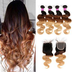 Бразильские Виргинские волосы 3 или 4 пачки с закрытием волос объемной волны соткут закрытие пачки человеческих волос омбре