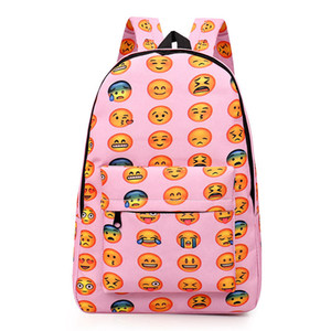 Atacado-Mulheres Emoji Mochila Mochila Menina Saco De Escola De Lona De Viagem Laptop Bag Mochila Dos Desenhos Animados