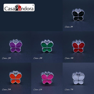 Wholesale-7 Colors 925 Plated Colored Butterfly Shape Fit Bracelet Charm DIY Enamel Bead Jewelry Making Pingente Berloque