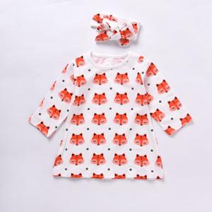 2017 otoño de la niña de la ropa de los niños del cartón Fox camiseta larga camisa de vestir de la venda 2pcs del niño de la ropa del bebé Top precioso manera del equipo