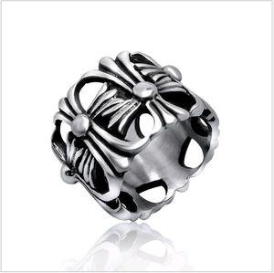 Мужчины Кольца Классический Античный Крест Hollow Приложение Designs Titanium Index стали Палец кольцо диапазона для женщин 1шт