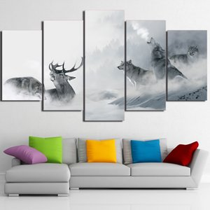5 Pcs Set Framed HD Printed White Howling Wolf Group Deer Wall Canvas Print Poster Asian Modern Art Oil Paintings Pictures