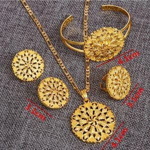 Äthiopischen Fine Jewelry set Pfannkuchen 24k Echt Gelb Solid Gold GF Anhänger Kette Ohrring Bangle Große Blume Schmuck Eritrea Habesha Wedd