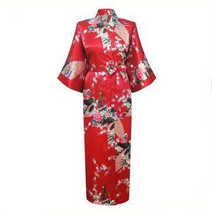 Toptan-Kırmızı Çin Kadınlar Ipek Rayon Cornes Uzun Seksi Gecelikler Yukata Kimono Küvet Pijama Pijama Feminino Artı Boyutu XXXL