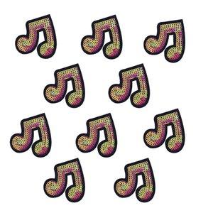10 PCS Paillettes Musical Note Patchs pour Vêtements Sacs Fer Sur Le Transfert Applique Paillettes Patch pour Jeans DIY Coudre Sur Des Paillettes