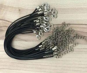 Epackfree 200pcs 1,5 millimetri Nero Cera in pelle di serpente braccialetti che borda cavo String fune metallica 18 centimetri + 5cm estensore di catena catenaccio fai da te
