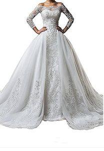 Vestidos de novia de manga larga de encaje con cuello bata vintage con falda desmontable más tamaño ilusión 2019 Tren vestido de noiva Vestido de novia bola