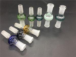 Coloré 10 styles Adaptateur en verre pour eau bong 14.4mm 18.8mm joint mâle femelle interface adaptateur pour fumer bongs bol clou dôme