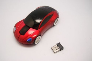 30pcs/lot # USB Car Shape Wireless Optical Mouse 10M 2 Blue Red White Mice Free FEDEX DHL Shipping 0001