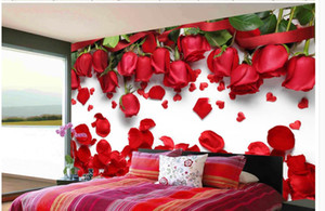 murales 3D bella carta da parati romantico amore fiore rosso petalo di rosa TV sfondo parete sfondi 3d della natura