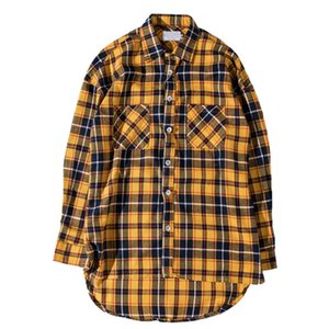 Cotton Plaid Homme Shirts 2017 Flannel Streetwear Men Long Sleeve Fashion Front Short Back Long Curved Hem Shirts