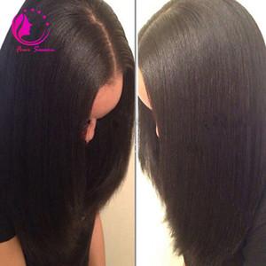 Lumière brésilienne Italienne Yaki Top en soie pleine perruques de lacet 4x4 Yaki Straight Base en soie Base frontale Perruques avec cheveux de bébé pour les femmes noires