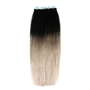 Ombre Brazilian hair tape extensions 40 pcs T1B Gray skin wefts tape in human hair extensions 100g brazilian virgin hair