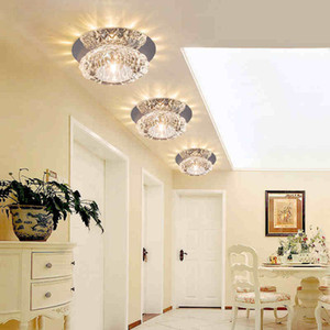 Crystal Round Crystal Light Hallway Foyer LED Crystal Plafond Lampe 3W 5W Corridor Aisle Lamparas De Techo Lustre Lights Decor de la maison