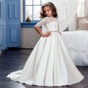 2018 Elegante Erstkommunion Festzug Kleid für Mädchen mit Ärmeln Kinder Graduierung Kleid Kleid Govestido de Daminha68767