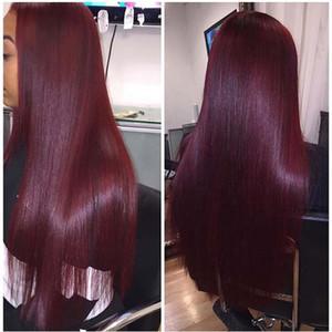 Diritti morbidi capelli umani brasiliani parrucche # 99j Red Virgin anteriore del merletto dei capelli parrucca candeggiati nodi Glueless parrucche piene del merletto aspetto naturale