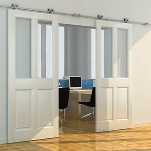 Doble rodillo interior acero inoxidable corredizo corredizo puerta de madera Hardware Sistema de rodillos de pista Rolling Double Doors