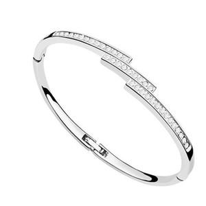 Nikel ücretsiz ünlü markalar kadınlar için tasarım takı Swarovski elements kristal bilezik manchette femme 2017 sevgililer Günü için en iyi hediye