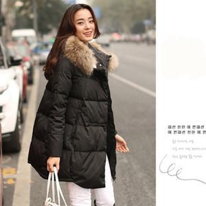 2017 nuove donne di cotone nella sezione lunga di collo di pelliccia grande spessa giacca di cotone peluche parka mujer camperas mujer abrigo A644