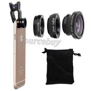 3 em 1 grande angular macro lente olho de peixe lentes de telefones celulares microscópio para iphone 6 7 plus galaxy s8 câmera universal clipe de vidro