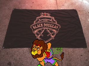 Drapeau noir de marque de douglas LOGO, décoration de barre, bannière de promotion de vin 100% polyester 90 * 150cm, impression numérique