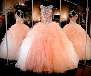 Sparkly Balo Boncuklu Kristal Quinceanera elbise Sevgiliye Keyhole Dantel-up Geri Dantelli Tül Uzun Balo Pageant Elbise Kadınlar için