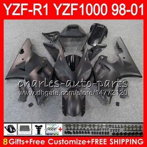 8Gift 23Corpo Corpo Para YAMAHA YZF 1000 R 1 YZFR1 98 99 00 01 61HM24 Preto Fosco YZF1000 YZF R1 YZF-R1000 YZF-R1 1998 1999 2000 2001 Carenagem