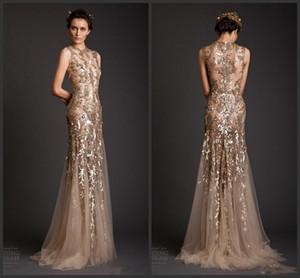 New Gold Mermaid Forma Tulle Sheer ver através de apliques Prom Dress Emboridery longas Formal Dubai Vestidos Krikor Jabotian Vestidos 201