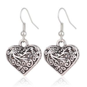 Vintage antike Silber aushöhlen geschnitzte Blumen-Pfirsich-Liebes-Herz baumeln Ohrringe für Frauen Haken Schmuck als Geschenk