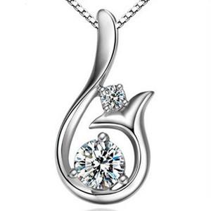 Diamante de calidad superior Colgante Collar Cubic Zircon 30% 925 plata esterlina Little Mermaid collar colgante para el banquete de boda Joyería de las mujeres 15pc
