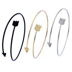 Flèches en acier inoxydable bracelets femmes Bracelets ouverts manchette réglable Bracelet en alliage de couleurs d'argent noir